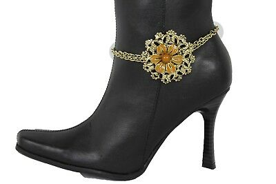Women Western Boot Anklet Gold Chain Metal Western Shoe Brown Flower Bling Charm