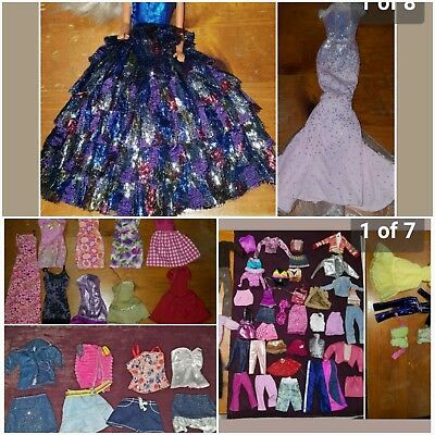 Barbie Doll Outfits 55+ Pieces Lot 2 Gowns Pants Bathingsuits Tops Skirts - Euc