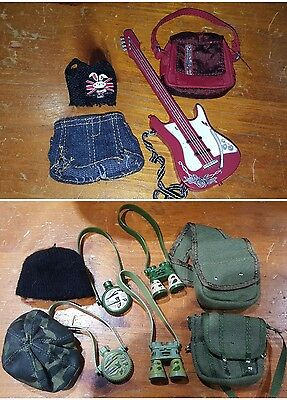 BRATZ DOLL OUTFITS - Rock n Roll with guitar and Adventure with bags binoculars