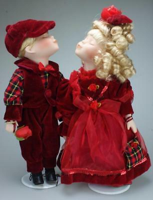 Pair of Porcelain & Rag Dolls Kissing Couple Set 35cms with Stands Homeart SA106