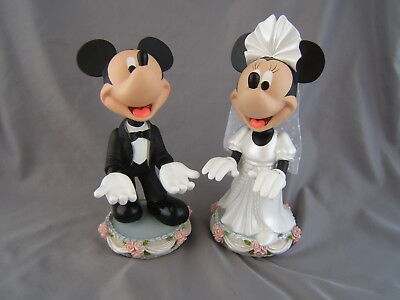 Disney Mickey and Minnie Mouse 9'' Bobblehead Bride and Groom Resin Figurines