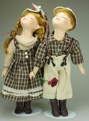 Pair of Porcelain & Rag Dolls Kissing Couple Set 35cms Original Box Stands SA105