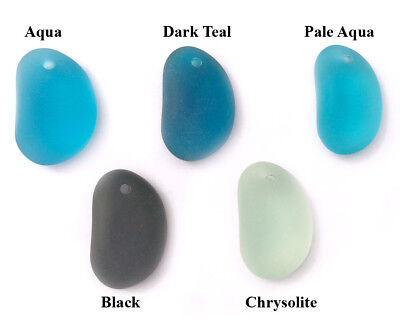 28x17.5mm Amoeba Free Form Sea Glass Frosted Pendant • Q6 • You Pick Color