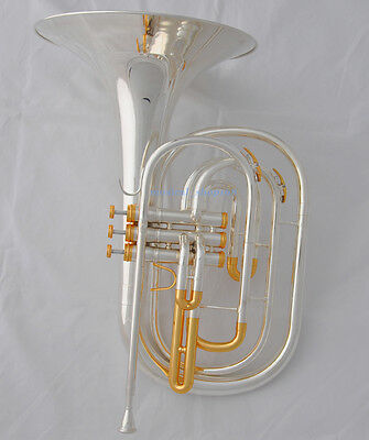 Professional Silver Gold plate Bb Marching French Horn with Case