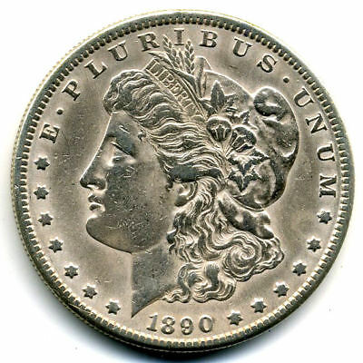 RARE 1890 S AU Morgan Silver Dollar About Uncirculated Coin LOW MINTAGE U.S#3534