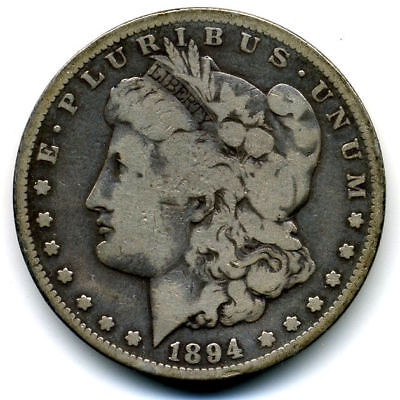 1894 S FINE$1 Morgan Silver Dollar Scarce Key Date LOW MINTAGE RARE US Coin#3512