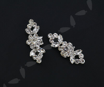 2PCS Silver Plated Crystal Rhinestone Shoe Clips Tone Boots Buckle Craft Decor