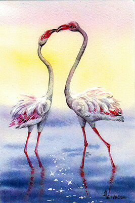FLAMINGO KISS Modern Russian postcard