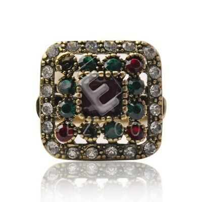 Retro Crystal Jewelry Antique Copper Charm Vintage Modern Rings Square TR0107