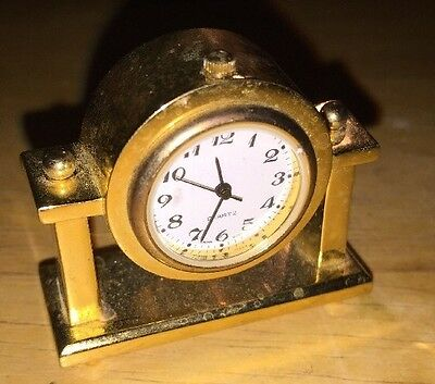 Small - Miniature Mantle Clock - Gold In Color