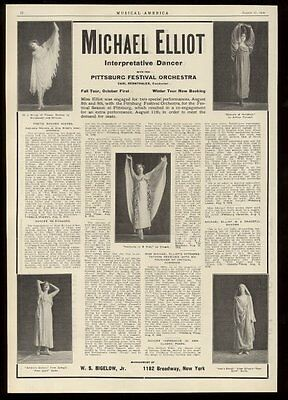 1910 Michael Elliot dancer photo vintage trade booking ad