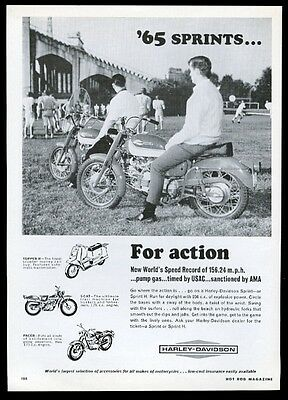 1965 Harley Davidson Sprint motorcycle photo Scat Topper H Pacer print ad
