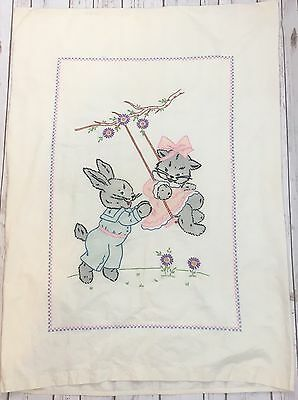Vintage Hand Embroidered Baby Crib/Toddler Bed Duvet Cover Cat + Bunny