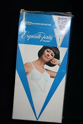 NIB 36 40 C D Vtg 60s LONGLINE Cotton Pointed Cup Exquisite Form White Bra P7367