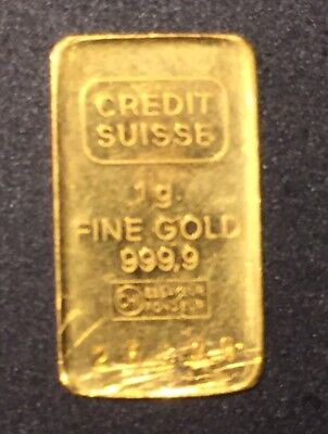 Credit Suisse 1g. (.9999 Fine Gold) Bullion Bar.....FREE S&H!!!