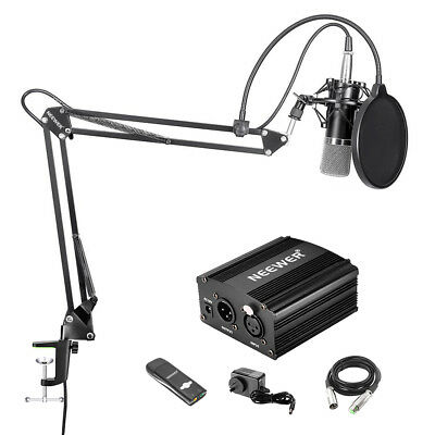 Neewer NW-700 Microphone+NW-35 Mic Stand+Pop Filter+Black 48V Phantom+Sound Card