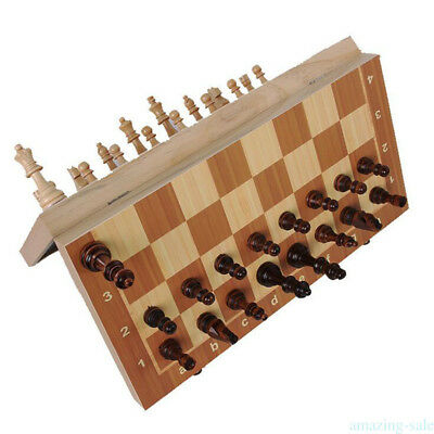 Portable Travel Magnetic Wooden Board Tournament Chess Set 29 * 29 cm Kid Gift