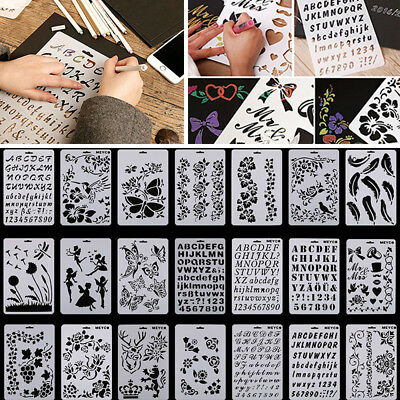 Creative Letter Number Layering Stencils Painting Scrapbooking Paper Cards Craft