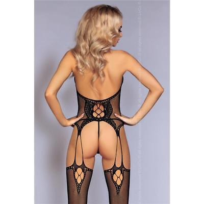 Sexy Netz-Bodystocking Catsuit In Straps-Optik Dessous Schwarz 34/36/38 #gw723