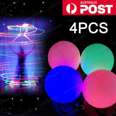 4 Light Up Poi Balls Pair &Thrown Balls LED Glow for Rave Belly Dancer Prop Tool