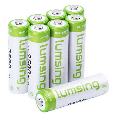 Lumsing AA High-Capacity Rechargeable Batteries (8-Pack) Pre-charged +Retail box