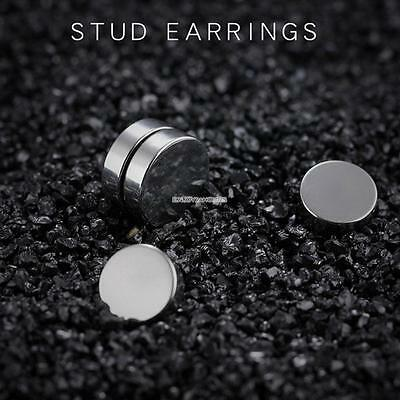 2x Magnetic Earrings Ear Stud Mens Women's NO PIERCING Jewellery 8mm Round BLACK