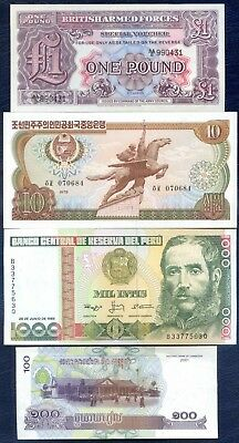 CRISP WORLD BANKNOTES x 4 ~ British Armed Forces, Peru, Korea, Cambodia