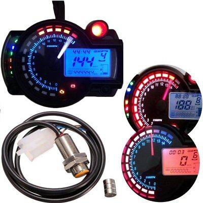 LCD Digital 15000RPM Dual Color Motorcycle Odometer Speedometer Tachometer Gauge