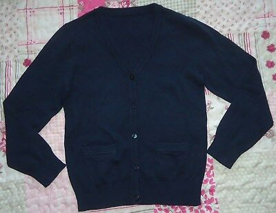 Girl's Navy Blue Cotton Mix School Cardigans With Pockets BNWOT