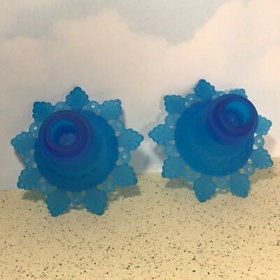 Westmoreland Glass Candle Holders Cobalt Blue Art Flow Pair Ring Petal Fenton Us