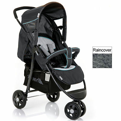 New Hauck Caviar / Silver Citi Pushchair Stroller Baby Buggy With Raincover