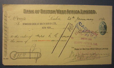 1931 Bank of BRITISH WEST AFRICA Limited - BANK CHECK - Bank of South Africa