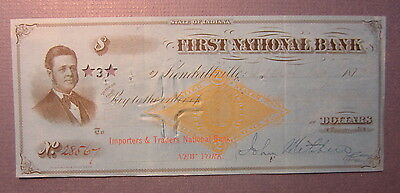 Old 1877 - KENDALLVILLE Indiana - BANK CHECK - Revenue Stamp - First National