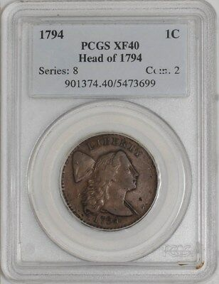 1794 Large Cent 1c Head of 1794 XF40 PCGS