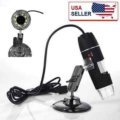 USB 500X Microscope Endoscope Magnifier Digital Video Camera Microscopio 8 LED G