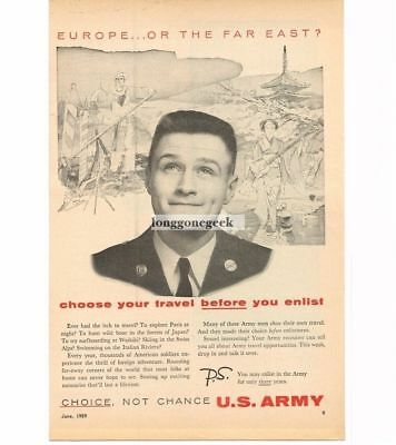 1959 US Army Recruiting Recruitment Travel Opportunities Vtg Print Ad