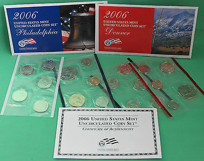 2006 P and D US Mint ANNUAL Uncirculated 20 Coin Set BU Coins COA and Envelope