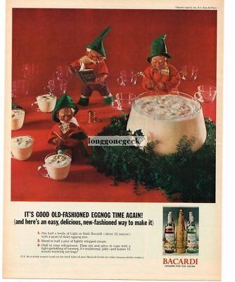 1962 BACARDI Rum Christmas Elves Making Egg Nog Vtg Print Ad with recipe