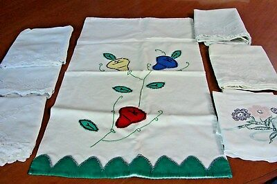 Lot 7 Early Vintage Feedsack Applique & Embroidered Pillowcases