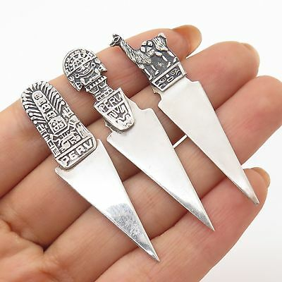 Vtg 925 Sterling Silver Totem Peru Tribal Bookmarks Set of 3