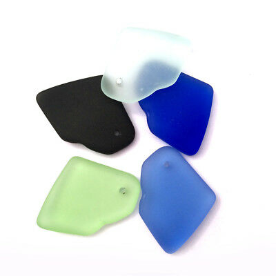 31x22mm Amoeba Free Form Sea Glass Frosted Charm • Q6 • You Pick Color