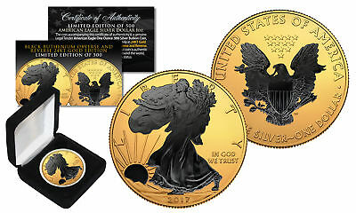 2017 1 oz Silver $1 BLACK EAGLE Ruthenium Blackout 24K Gold Gilded US Coin w/BOX