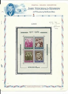 Ajman Kennedy Collection on 4 White Ace Pages, 19-26, 26a  Imperf & Perf