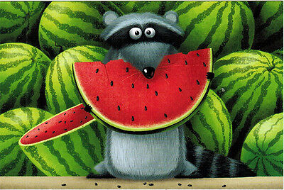 RACCOON WITH HIS TROPHY - WATERMELON! Russian modern postcard