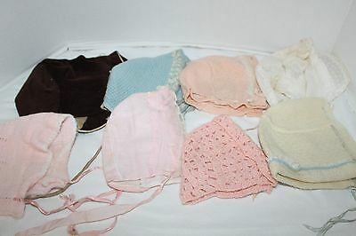 Lot of 8~VINTAGE~Baby~DOLL~Bonnets~PINK Blue IVORY Brown~CROCHET~Corduroy~KNIT