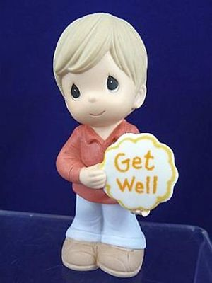 "Precious Moments - Boy Holding "" Get Well "" Sign - 103013"