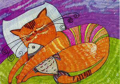 CAT AND FISH SLEEP TOGETHER! Modern Russian postcard