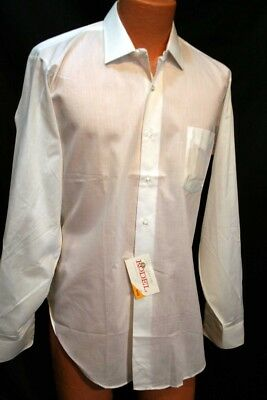 NOS L 16 35 White Dura Wite! Vtg 60s Manhatten Delcot Mantrim L/S Dress Shirt