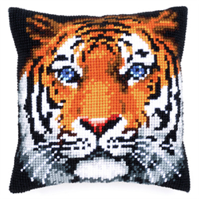 Tiger - Large Holed Printed Tapestry Canvas Cushion Kit - Chunky Cross Stitch
