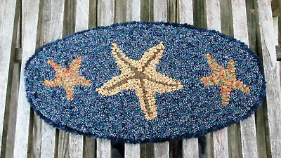 Three Starfish Oval Primitive Rug Hooking kit with #8 cut wool strips